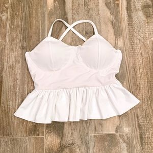 White/Pink Peplum Bathing Suit Top